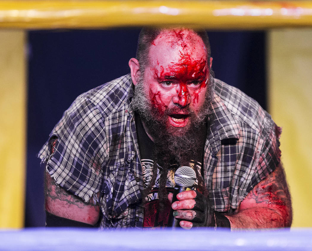 A bloodied Homeless Jimmy addresses the crowd after loosing his JCW wrestling match to Chuey Martinex at Insane Clown Posse's Juggalo Weekend on Saturday, February 17, 2018, at Backstage Bar & ...