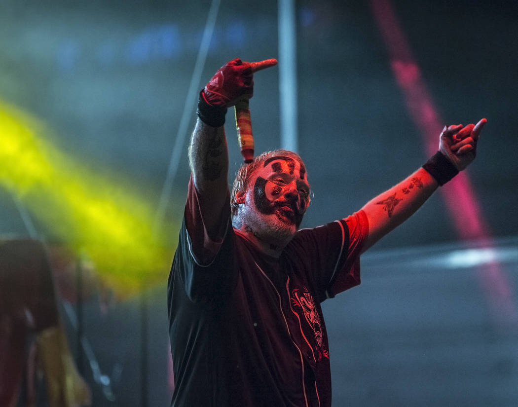 Insane Clown Posse's Shaggy 2 Dope fires up the crowd during Juggalo Weekend on Saturday, February 17, 2018, at Fremont Country Club, in Las Vegas. Benjamin Hager Las Vegas Review-Journal @benjami ...