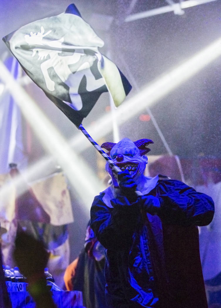 Performers with Insane Clown Posse wave band flags  during Juggalo Weekend on Saturday, February 17, 2018, at Fremont Country Club, in Las Vegas. Benjamin Hager Las Vegas Review-Journal @benjaminh ...