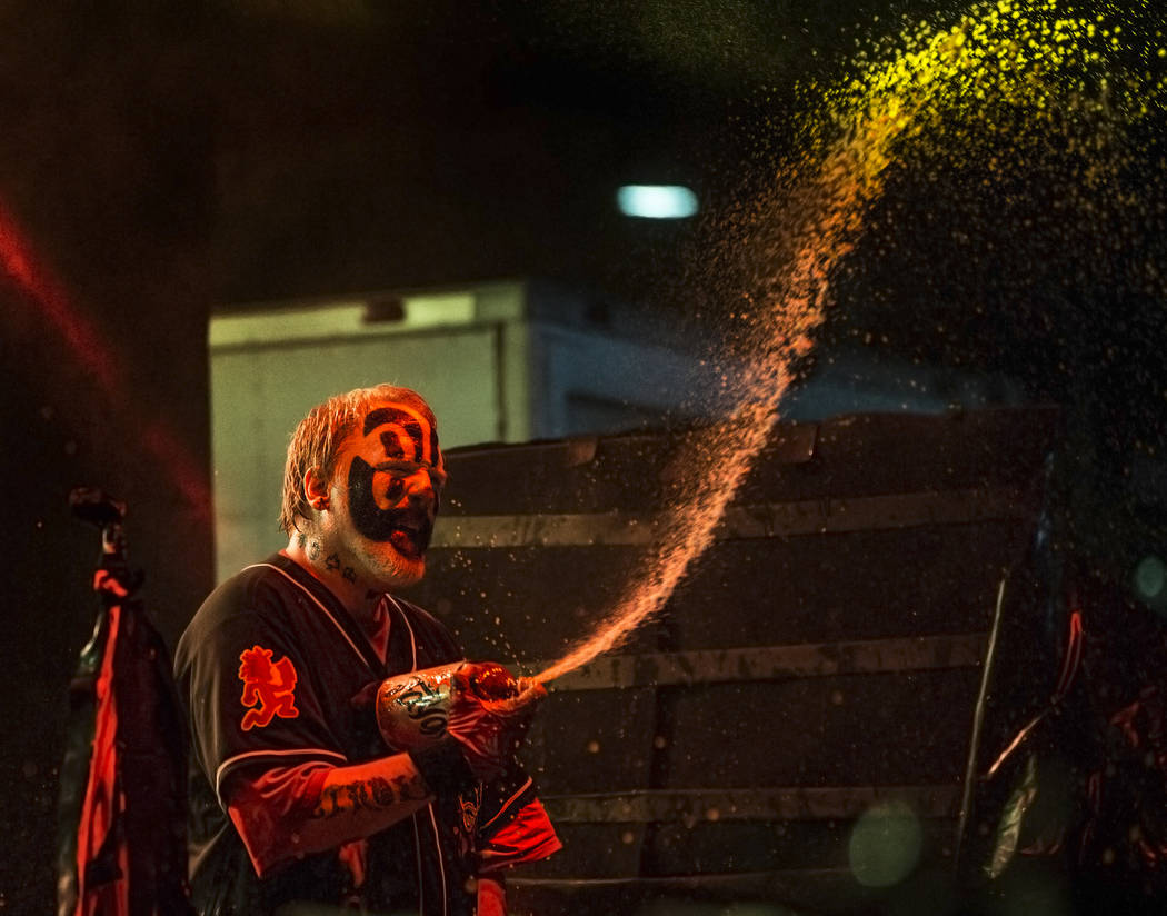 Insane Clown Posse's Shaggy 2 Dope sprays fans with Faygo soda during Juggalo Weekend on Saturday, February 17, 2018, at Fremont Country Club, in Las Vegas. Benjamin Hager Las Vegas Review-Journal ...