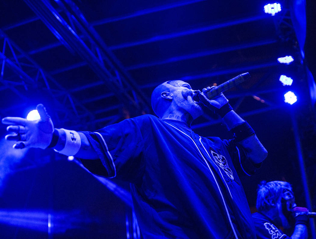 Insane Clown Posse's Violent J, left, and Shaggy 2 Dope perform during Juggalo Weekend on Saturday, February 17, 2018, at Fremont Country Club, in Las Vegas. Benjamin Hager Las Vegas Review-Journa ...