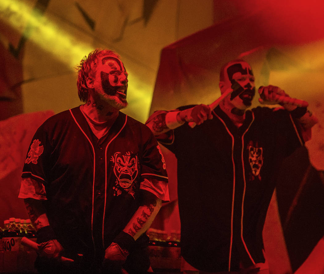 Insane Clown Posse's Shaggy 2 Dope, left, and Violent J perform during Juggalo Weekend on Saturday, February 17, 2018, at Fremont Country Club, in Las Vegas. Benjamin Hager Las Vegas Review-Journa ...