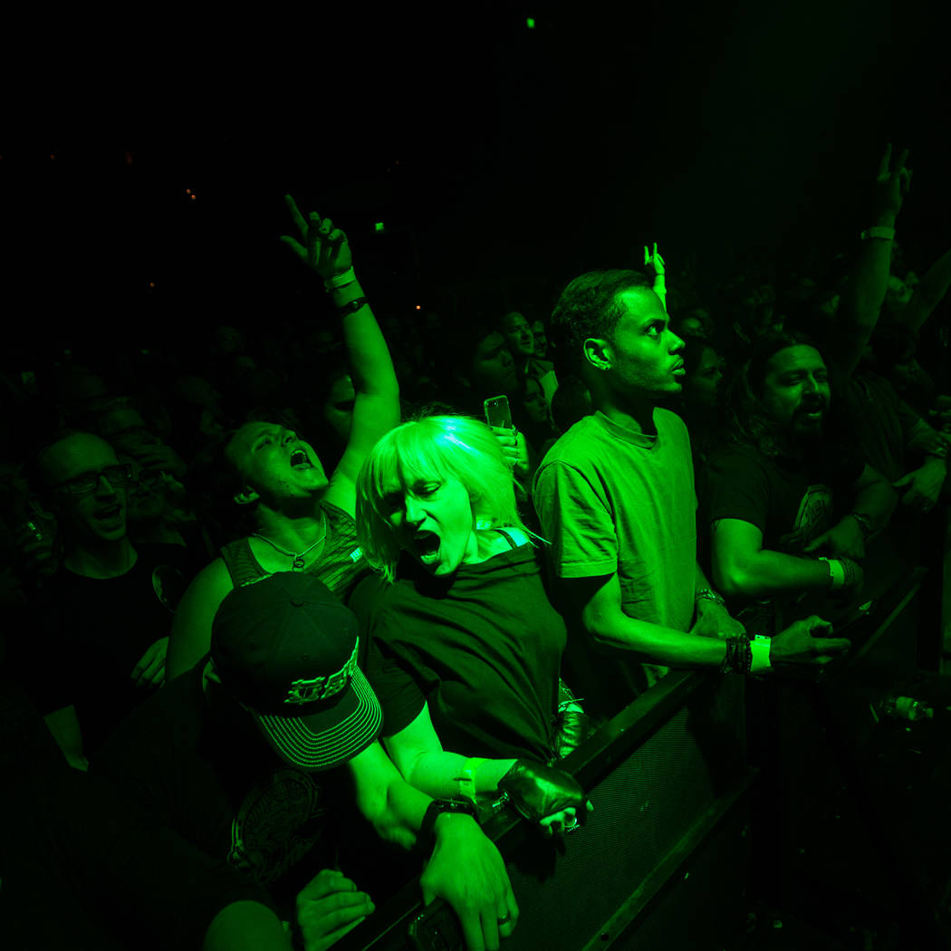 Fans react as Queens of the Stone Age perform at The Chelsea at The Cosmopolitan of Las Vegas on Friday, Feb. 16, 2018. Chase Stevens Las Vegas Review-Journal @csstevensphoto