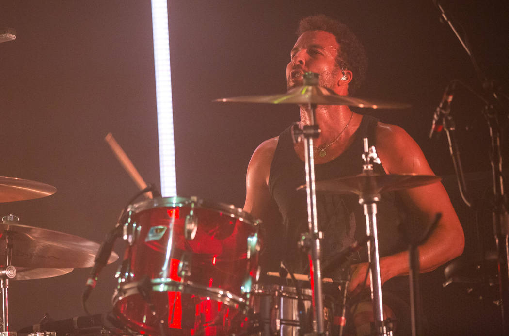 Queens of the Stone Age drummer Jon Theodore performs at The Chelsea at The Cosmopolitan of Las Vegas on Friday, Feb. 16, 2018. Chase Stevens Las Vegas Review-Journal @csstevensphoto