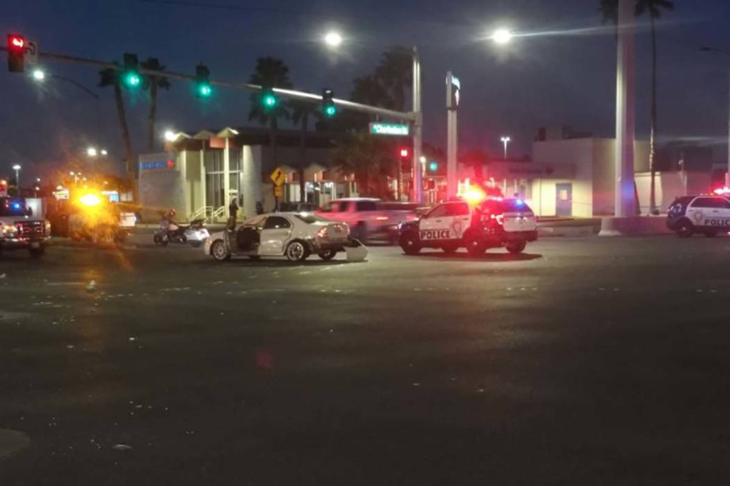 The Las Vegas Metropolitan Police Department is investigating a Monday morning injury crash involving a patrol vehicle at Decatur and Charleston boulevards. (Max Michor/Las Vegas Review-Journal)