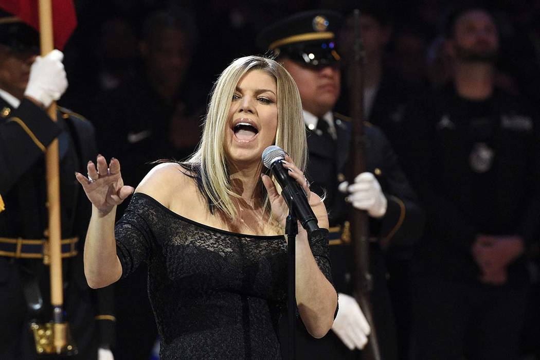 Fergie performs the national anthem prior to an NBA All-Star Game, Sunday, Feb. 18, 2018, in Los Angeles. (Chris Pizzello/AP)