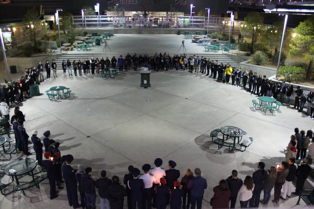 Students and staff held a candlelight vigil for their beloved teacher, Marc Hechter, on Feb. 13 at the quad at Palo Verde High School. (Andrea Resnick/Palo Verde High School)
