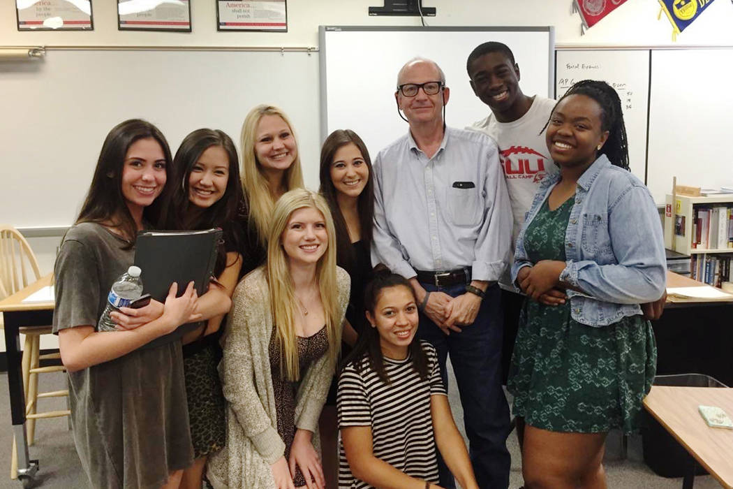 Marc Hechter with AP Government students from the Class of 2015. (Andrea Resnick/Palo Verde High School)