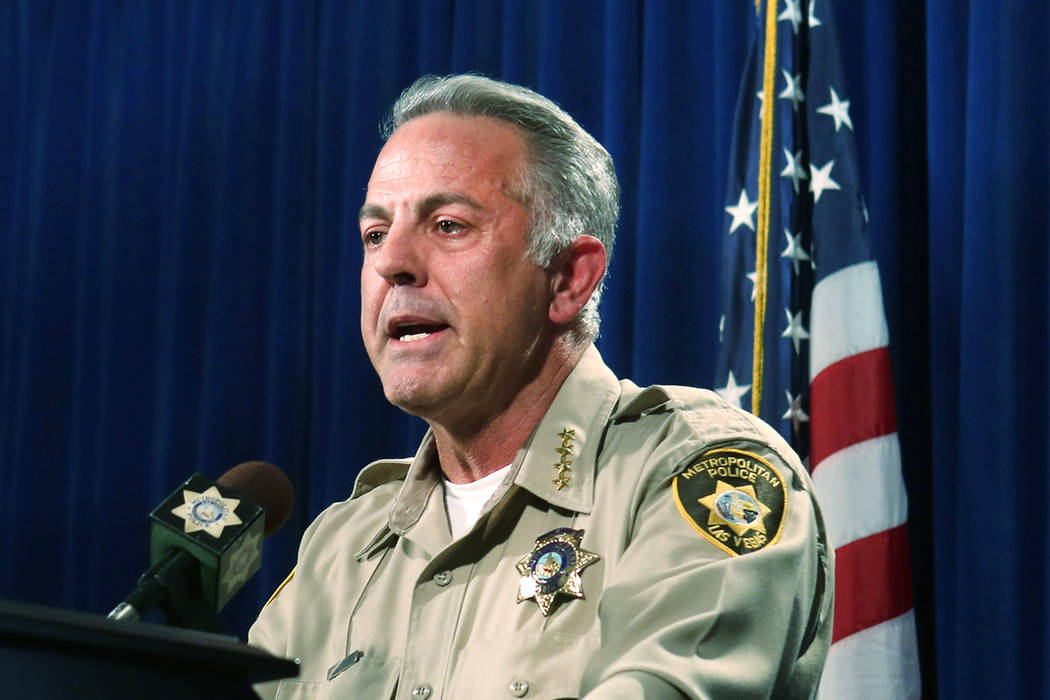 Clark County Sheriff Joe Lombardo announces on June 5, 2017, at Metropolitan Police Department headquarters in Las Vegas that officer Kenneth Lopera will be charged with involuntary manslaughter i ...