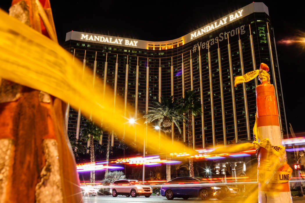 Mandalay Bay in Las Vegas on Nov. 7, 2017. A gunman shot and killed 58 people on Oct. 1, 2017, from his 32nd-floor suite at the hotel. The Metropolitan Police Department decided to omit those deat ...