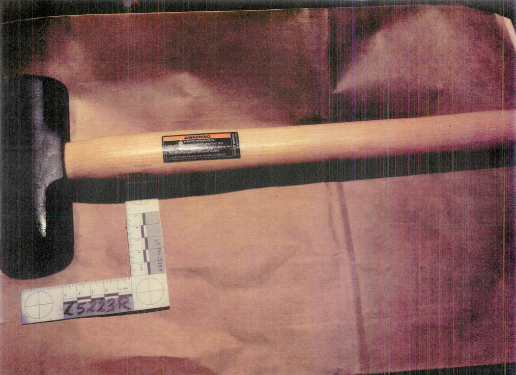 Hammer police said was used in an attack on a mannequin. (Las Vegas Metropolitan Police Department)