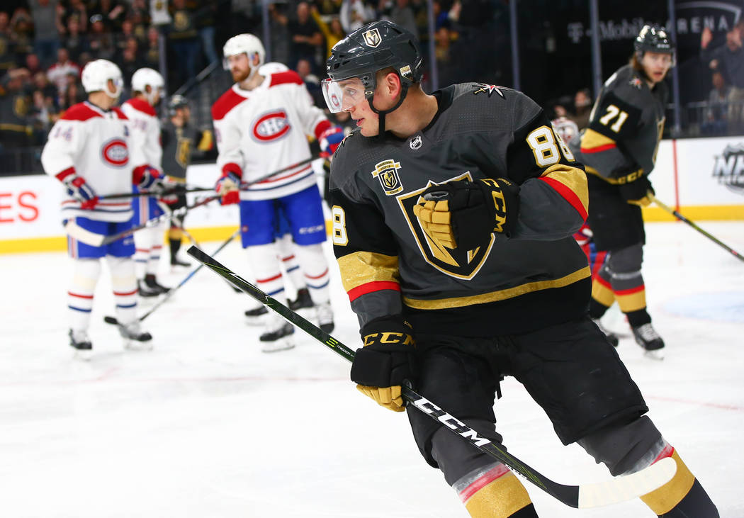 Golden Knights defenseman Nate Schmidt (88) after scoring against the Montreal Canadiens during the third period of an NHL hockey game at T-Mobile Arena in Las Vegas on Saturday, Feb. 17, 2018. Ch ...