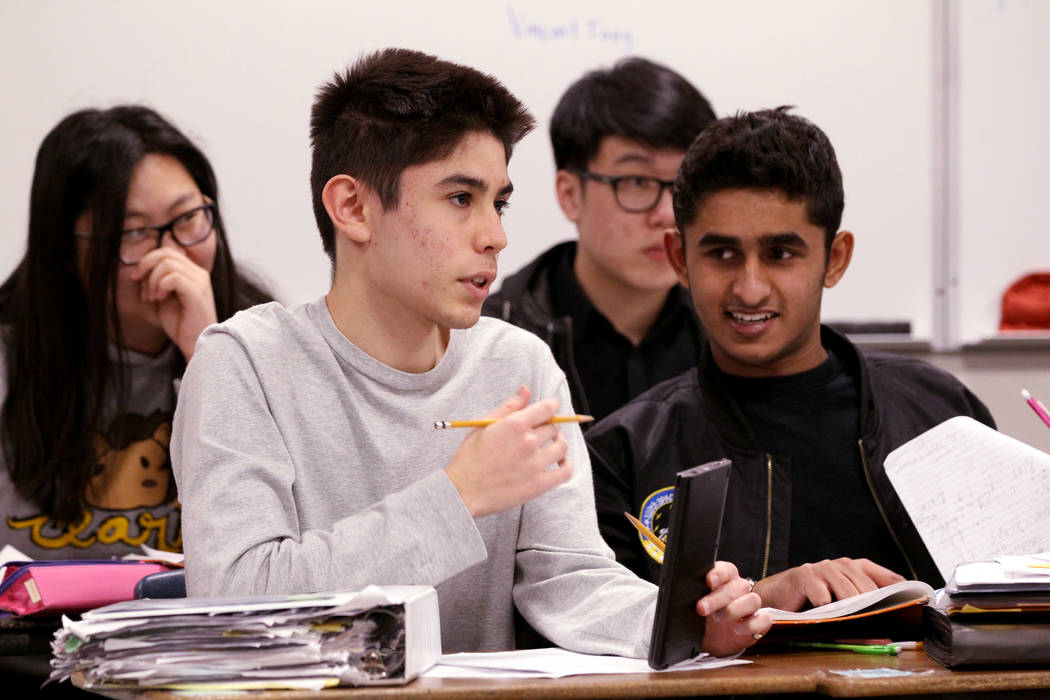 Students in Cassie Arquette's AP Calculus BC class, from left, Boya Liu, James OÕBrien, Aaron Sun and Vidhu Ramakrishnan at Clark High School in Las Vegas Tuesday, Feb. 20, 2018. K.M. Cannon  ...