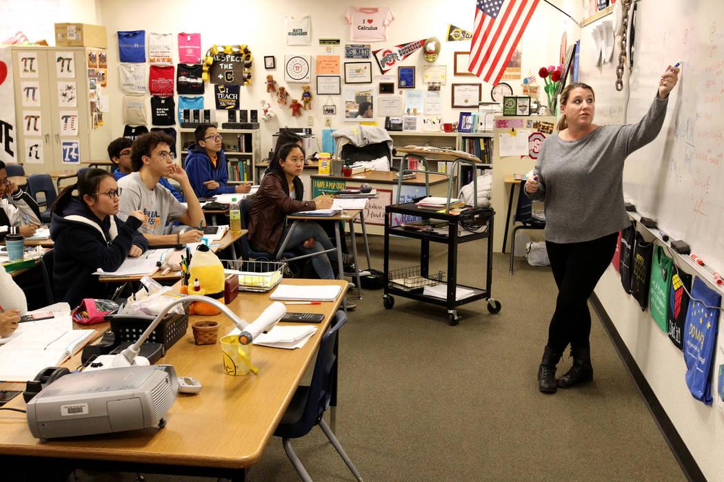 Cassie Arquette teaches AP Calculus BC at Clark High School in Las Vegas Tuesday, Feb. 20, 2018. K.M. Cannon Las Vegas Review-Journal @KMCannonPhoto