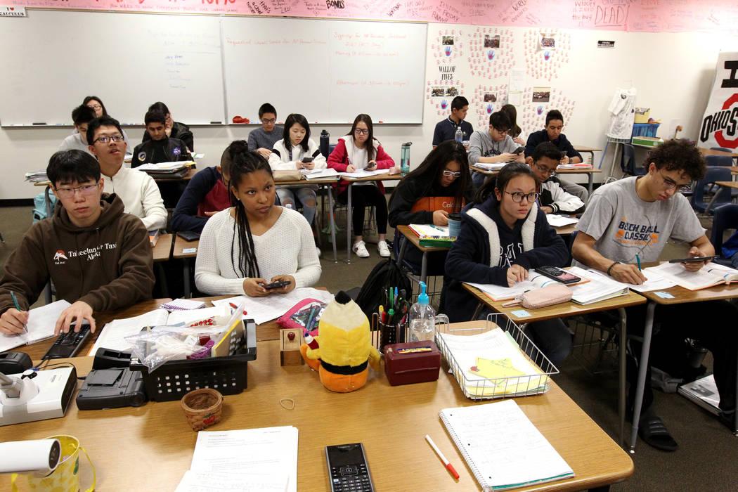 Students in Cassie Arquette's AP Calculus BC class at Clark High School in Las Vegas Tuesday, Feb. 20, 2018. K.M. Cannon Las Vegas Review-Journal @KMCannonPhoto