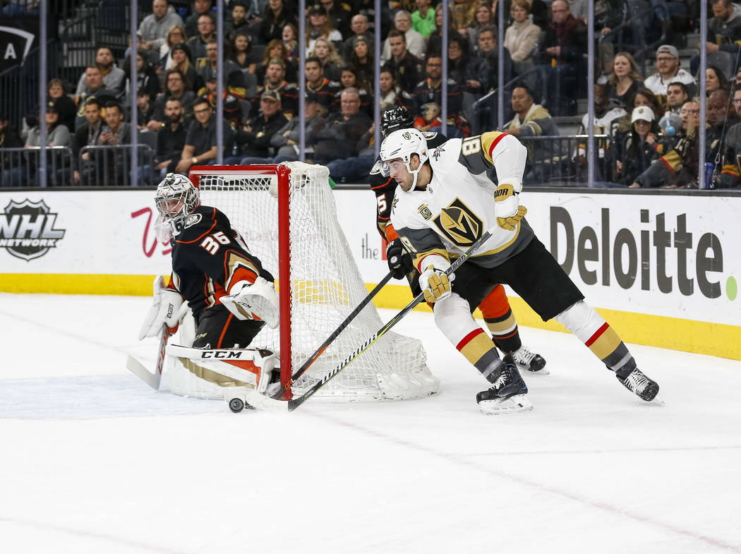 Vegas Golden Knights right wing Alex Tuch (89) looks for a shot on Anaheim Ducks goaltender John Gibson (36) during the first period of an NHL hockey game at T-Mobile Arena in Las Vegas, Monday, F ...