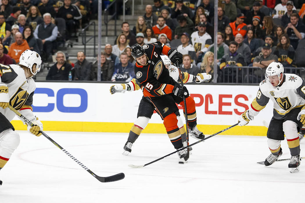 Anaheim Ducks center Ryan Getzlaf (15) takes a slap shot during the second period of an NHL hockey game between the Vegas Golden Knights and the Anaheim Ducks at T-Mobile Arena in Las Vegas, Monda ...