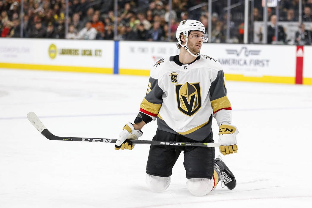 Vegas Golden Knights defenseman Colin Miller (6) falls to the ice after missing a shot against the Anaheim Ducks in the third period of an NHL hockey game at T-Mobile Arena in Las Vegas, Monday, F ...