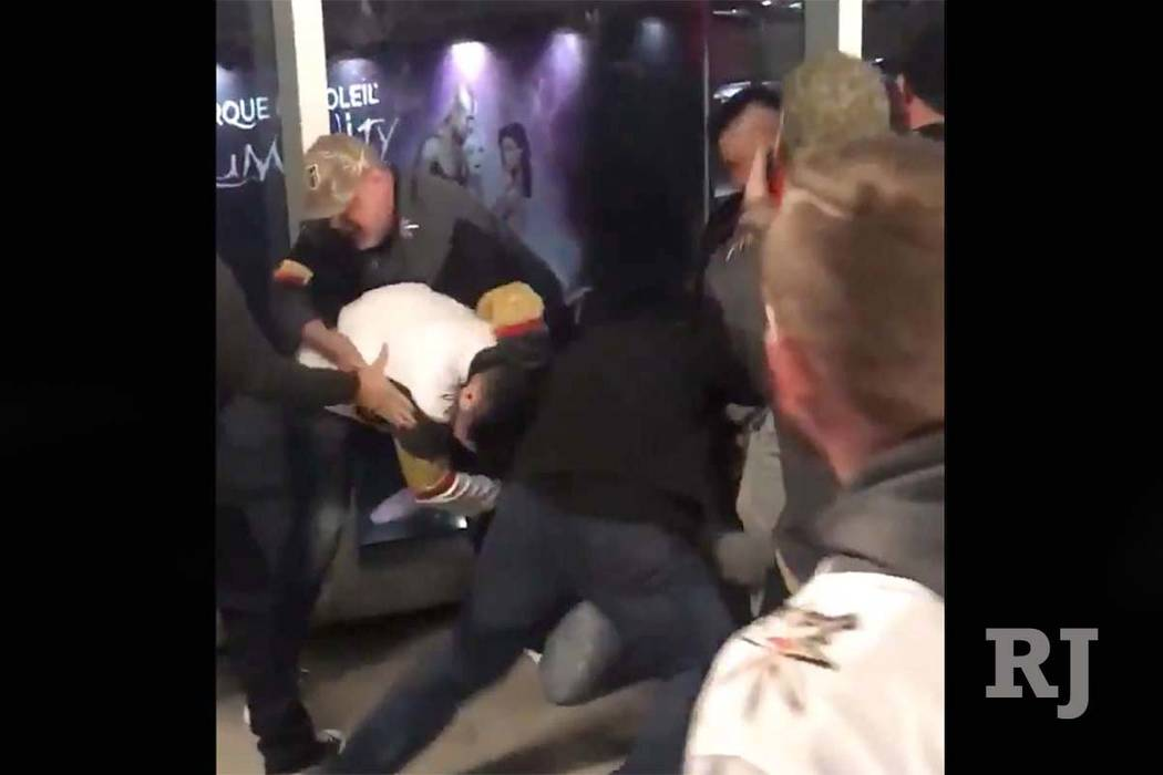 A fight broke out in the stands between fans at the NHL game of the Vegas Golden Knights and Anaheim Ducks at T-Mobile Arena in Las Vegas on Monday night, Feb. 19, 2018. (Screen grab/Twitter/@Andr ...