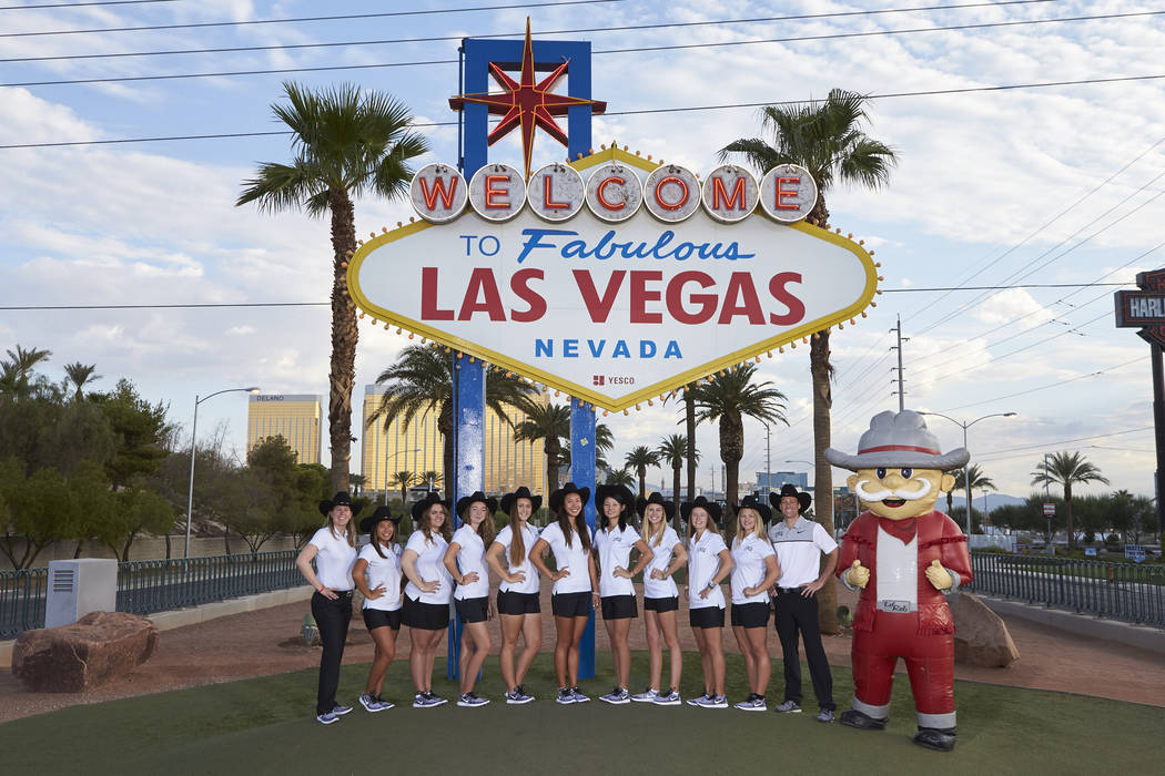 UNLV head coach Amy Bush, far left, is excited about the team's new home at Spanish Trail Country Club and is happy to show off Las Vegas during the Rebel Beach Invitational Monday and Tuesday. Ph ...