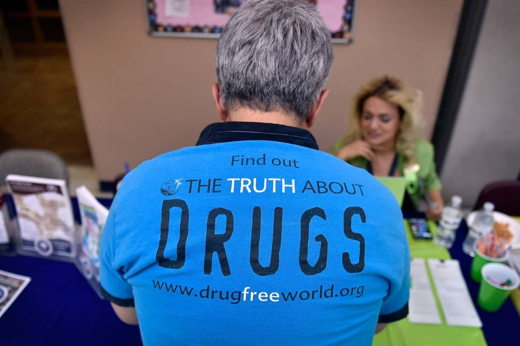 A man looks over one of the vendor tables during No Hero in Heroin Foundation's #BlackMonday2016 at the Salvation Army Chapel on Monday, Feb. 15, 2016, in Las Vegas. (David Becker/Las Vegas Review ...
