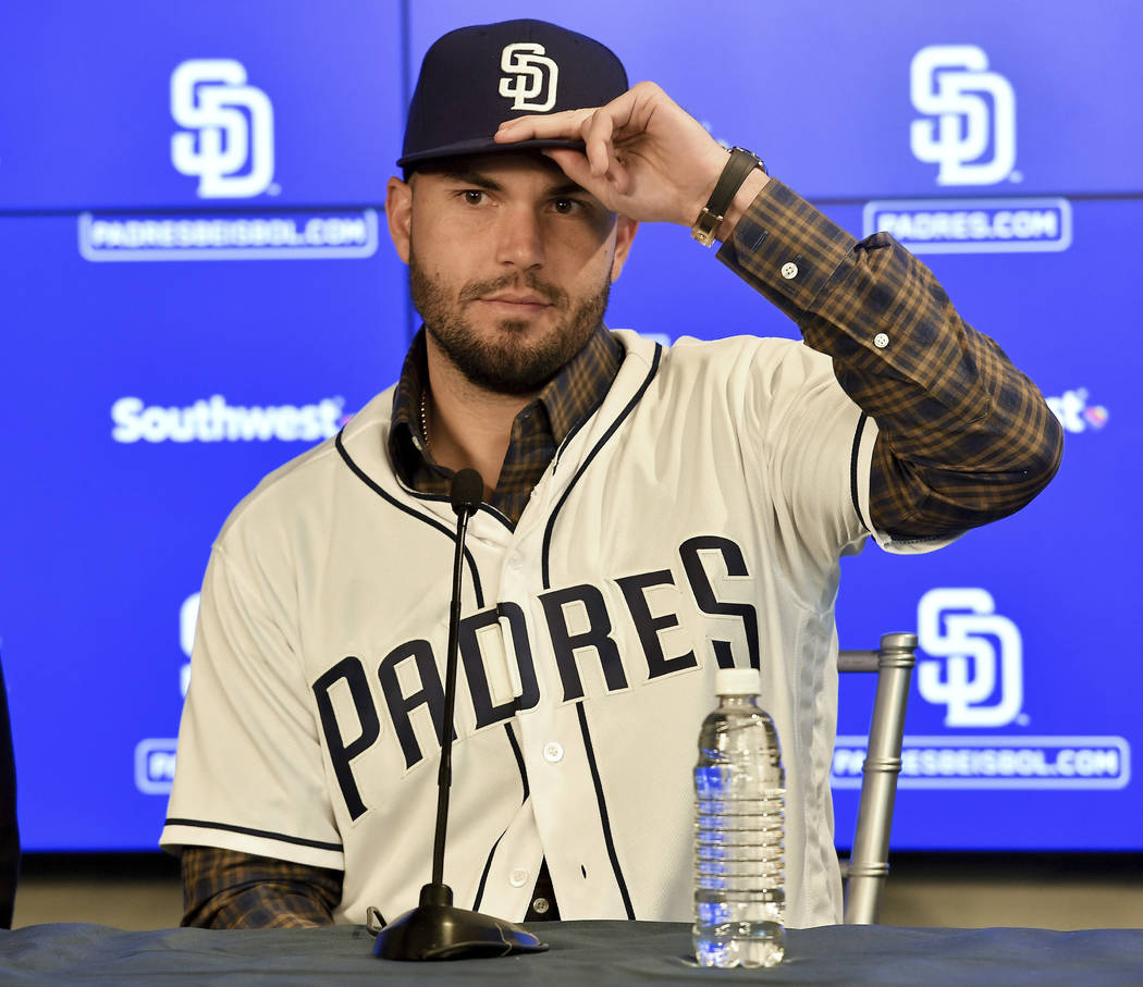 San Diego Padres baseball player Eric Hosmer is shown during an introductory press conference in Peoria, Ariz., Tuesday, Feb. 20, 2018. Hosmer and the San Diego Padres finalized their $144 million ...