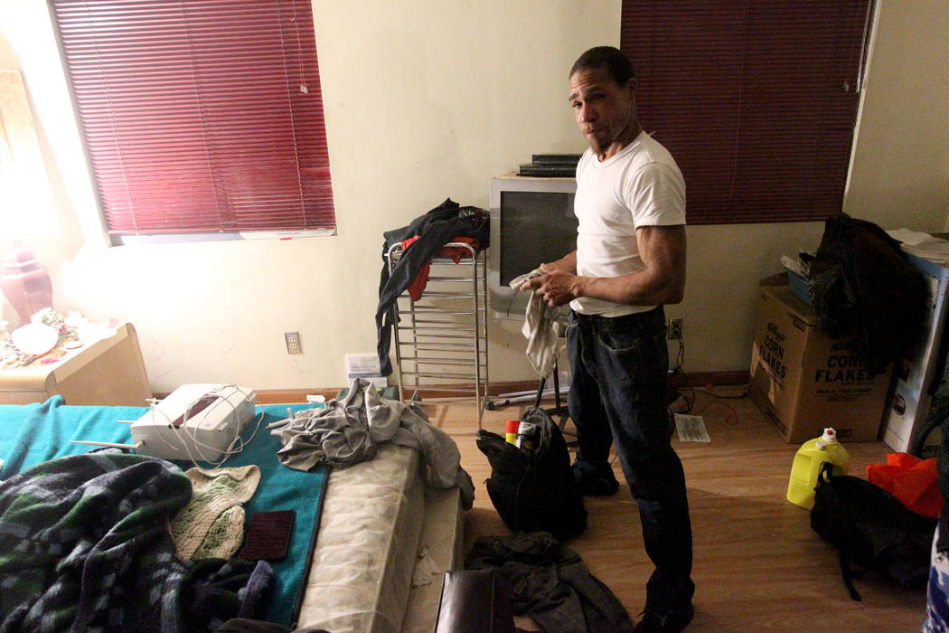 Armello, who declined to give his last name, organizes his belongings Gary's room at 724 N. 9th St. in downtown Las Vegas Thursday, Jan. 25, 2018. Armello said that he doesn't live at the home but ...