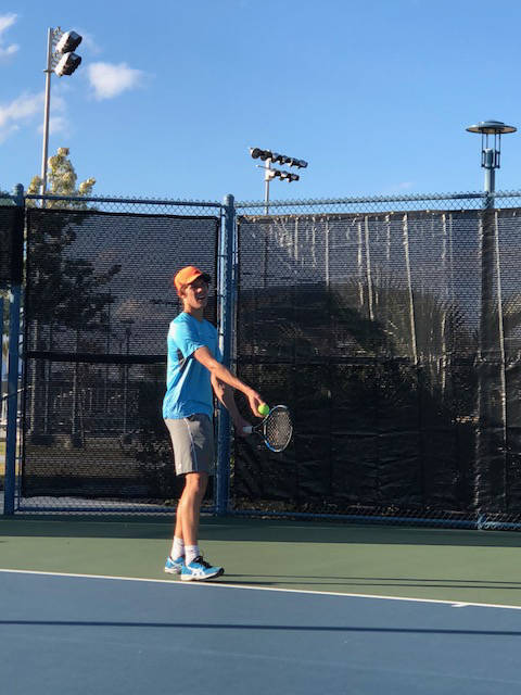 Michael Andre practices at Darling Tennis Center on Feb. 13. (Saad Ashraf)