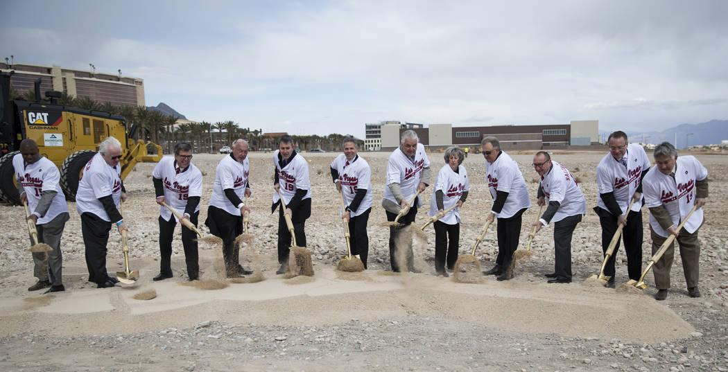 Dignitaries shovel soil during the groundbreaking ceremony for the Las Vegas 51s future ball park in Summerlin, Las Vegas, Friday, Feb. 23, 2018. Erik Verduzco Las Vegas Review-Journal @Erik_Verduzco