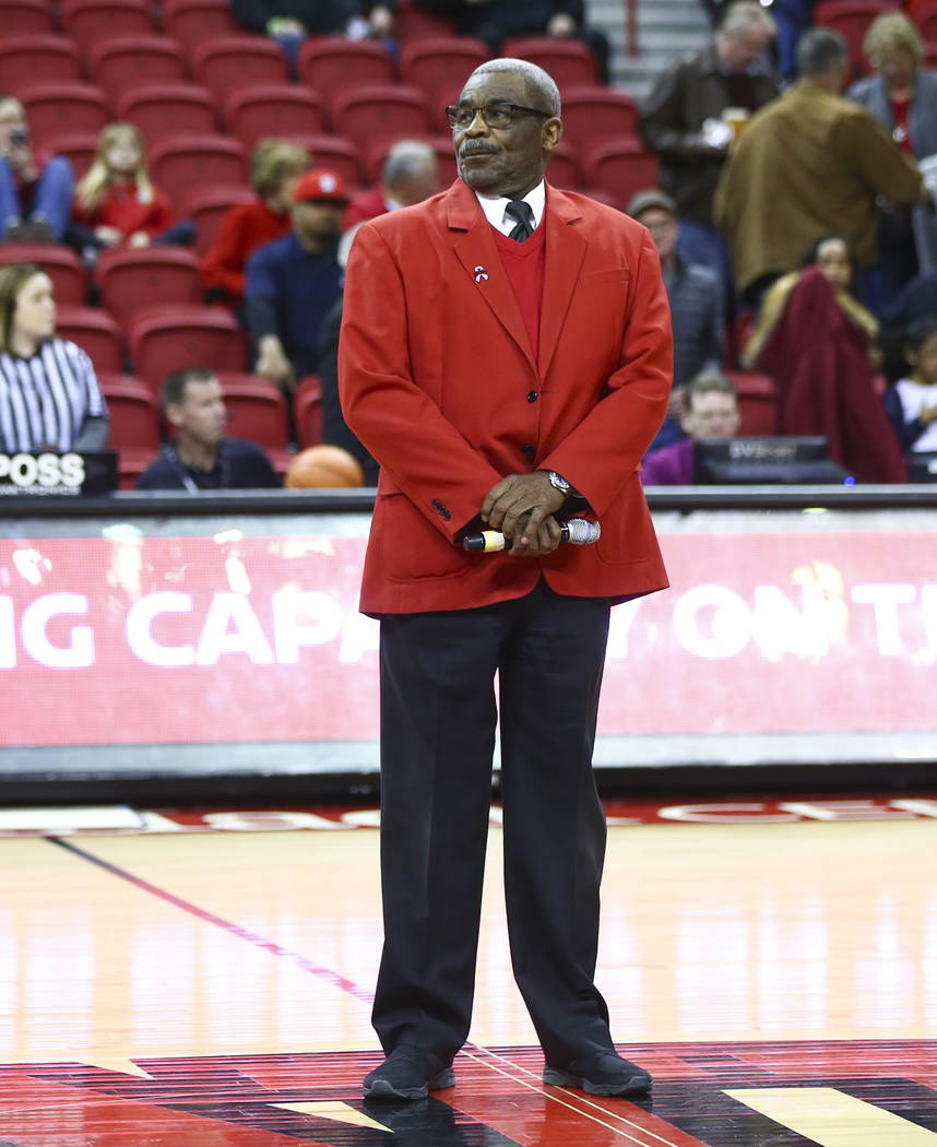 Veteran boxing referee Thomas Byrd gets ready to perform the national anthem before the start of a basketball game between UNLV and Fresno State at the Thomas & Mack Center in Las Vegas on Wed ...