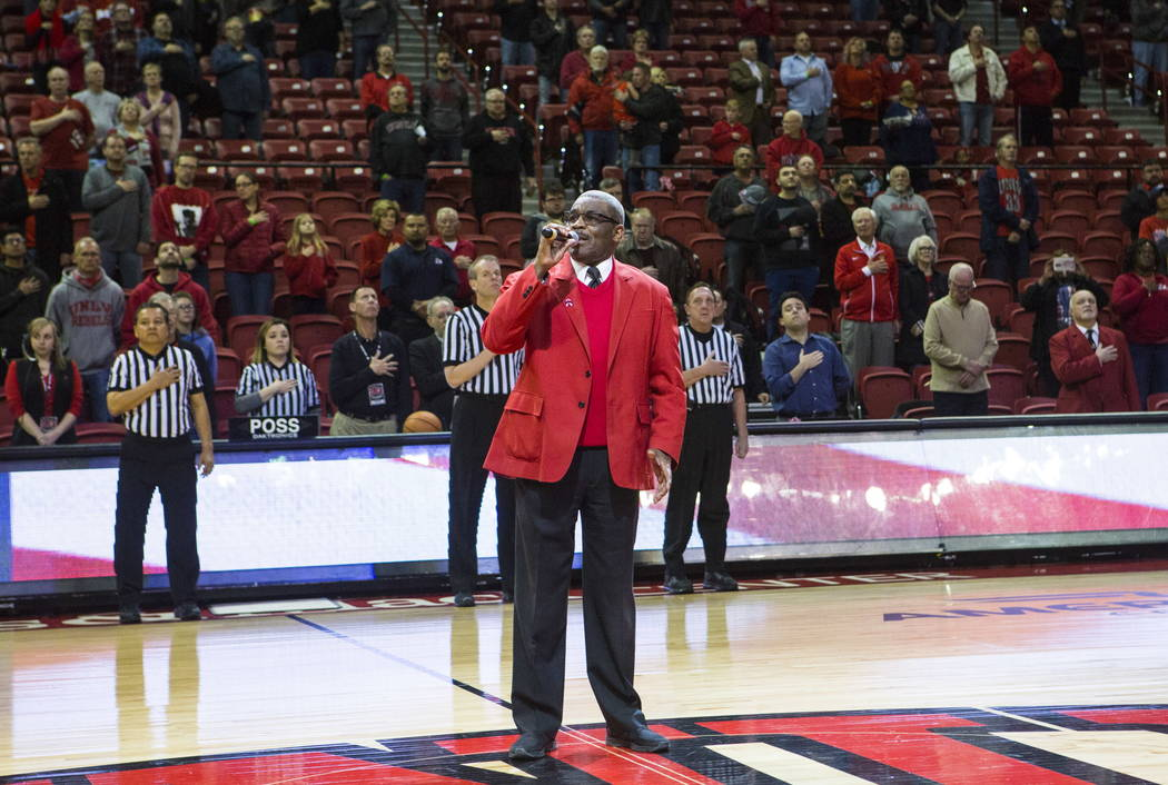 Veteran boxing referee Thomas Byrd gets performs the national anthem before the start of a basketball game between UNLV and Fresno State at the Thomas & Mack Center in Las Vegas on Wednesday,  ...