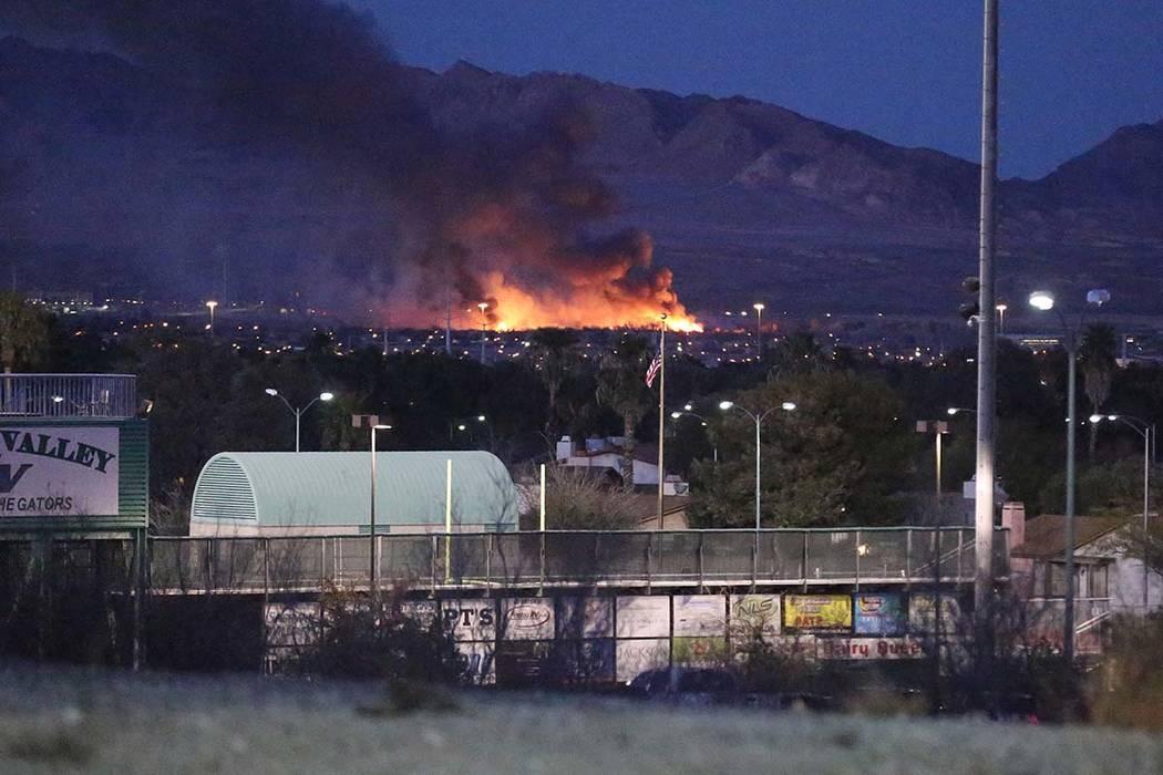 A fire engulfs wetlands park near Sam Boyd Stadium on Tuesday, February 20, 2018. Michael Quine/Las Vegas Review-Journal @Vegas88s