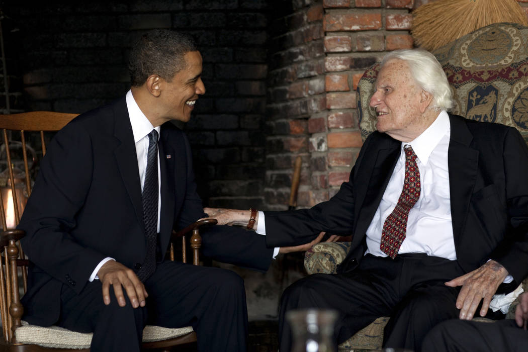 President Barack Obama meets with Billy Graham, 91, at his mountainside home in Montreat, N.C., Sunday, April 25, 2010. Obama concluded his North Carolina vacation with his first meeting of the ai ...