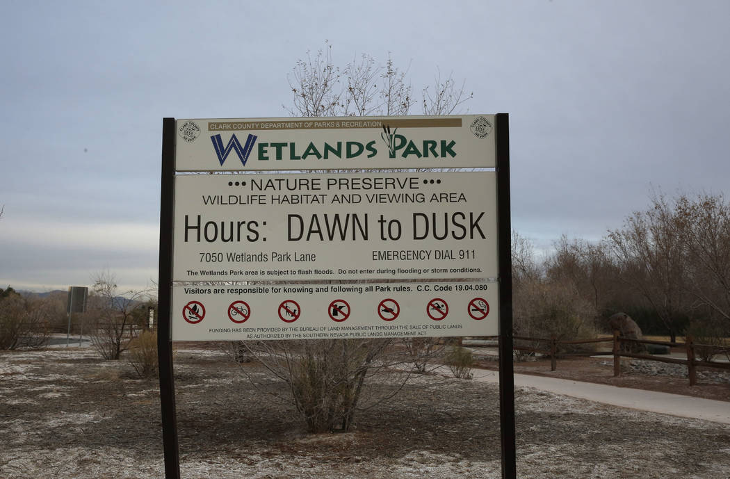 The Clark County Wetlands Park sign is seen at 7050 Wetlands Park Lane where a brush fire that started Tuesday evening at Clark County Wetlands Park was finally contained on Wednesday, Feb. 21, 20 ...