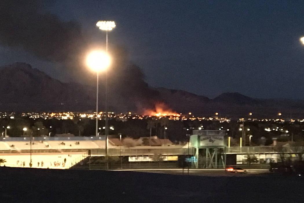A fire engulfs wetlands park near Sam Boyd Stadium on Tuesday, February 20, 2018. (Michael Quine/Las Vegas Review-Journal) @Vegas88s
