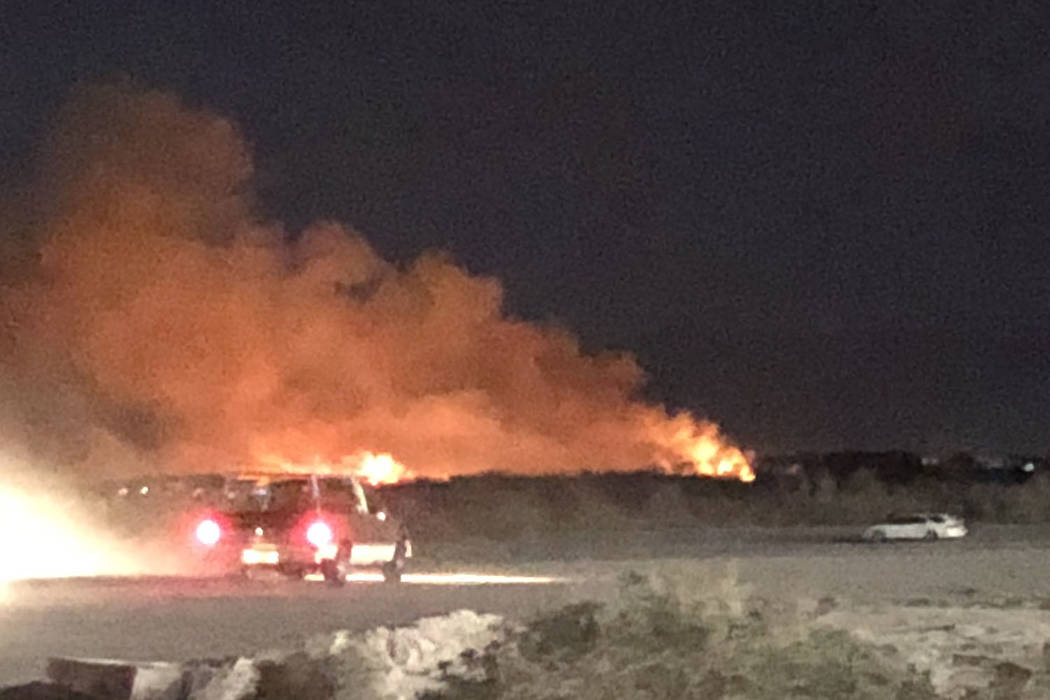 A fire at Wetlands Park is seen on Tuesday, Feb. 20, 2018. Lidia Thevenot