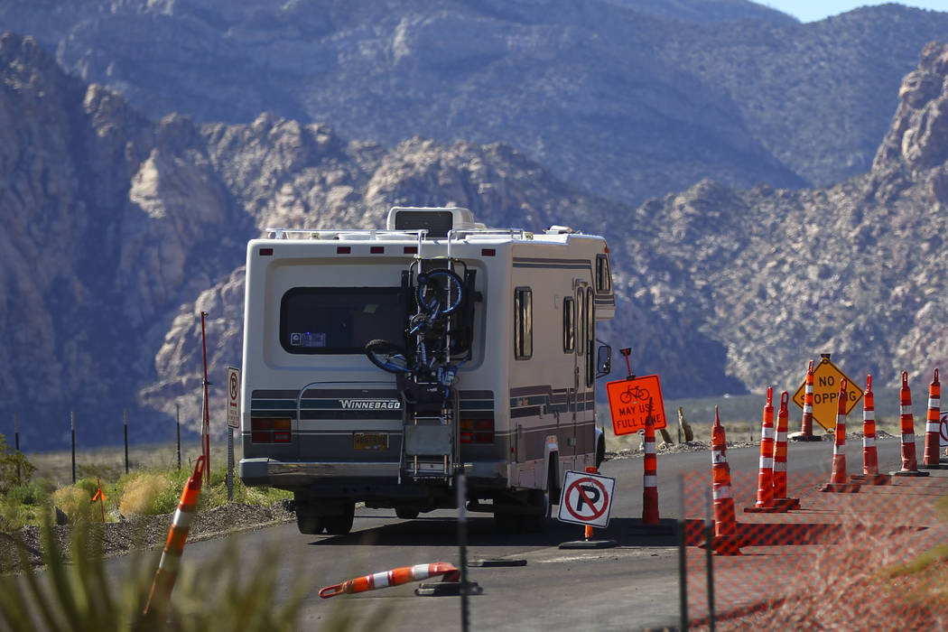 An RV drives along the 13-mile scenic drive at Red Rock Canyon National Conservation Area outside of Las Vegas on Wednesday, March 29, 2017. (Chase Stevens/Las Vegas Review-Journal) @csstevensphoto