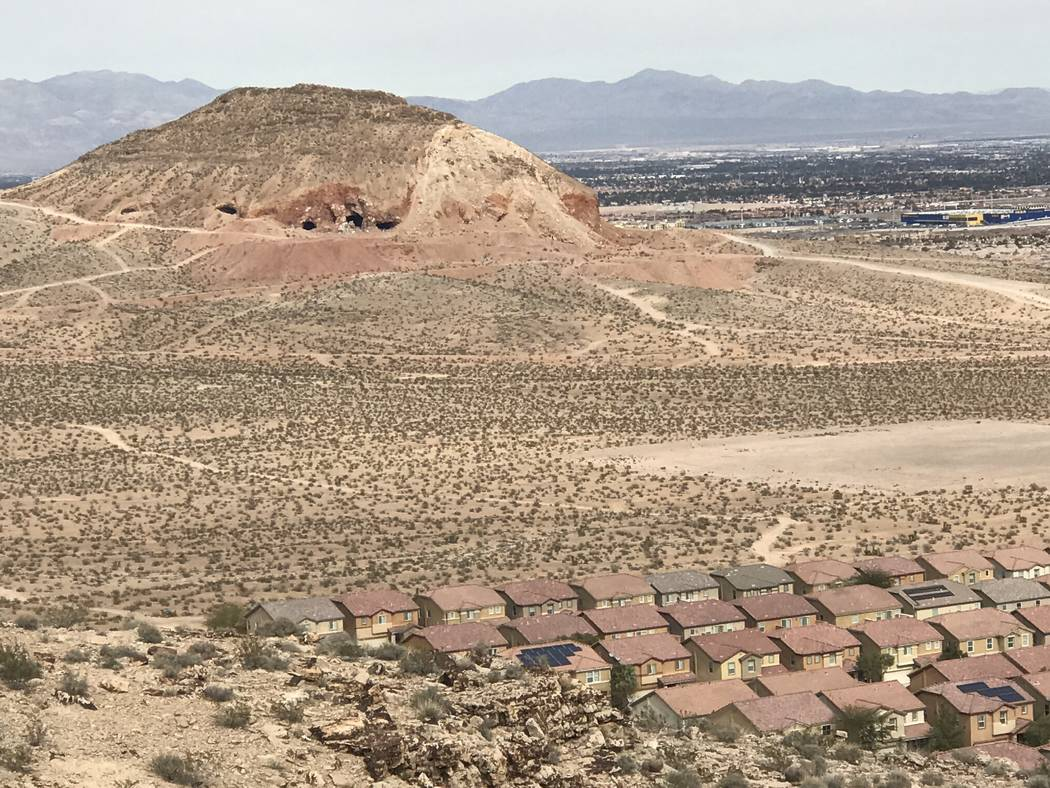 New housing developments creep closer to an abandoned gypsum mine near Fort Apache and Warm Springs roads on Wednesday, Feb. 21, 2018. (Henry Brean/Las Vegas Review-Journal)