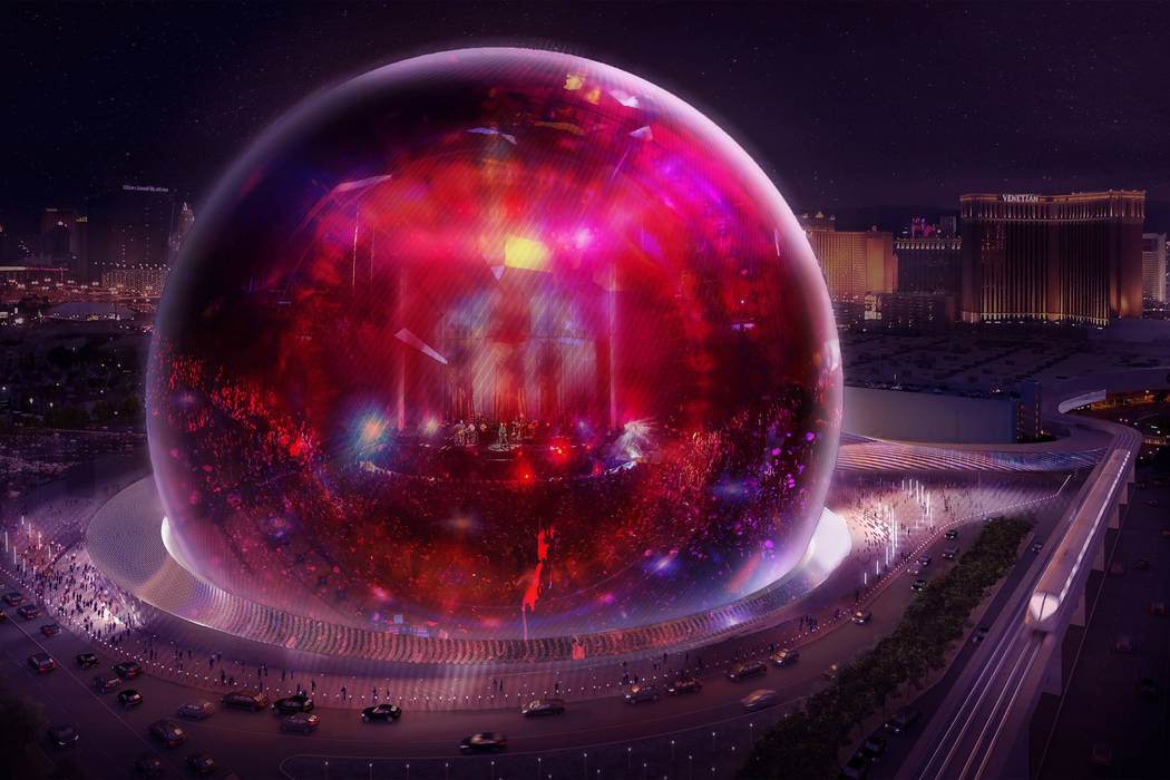 An artist's rendering of the MSG Sphere Las Vegas distributed Thursday, Feb. 8, 2018, shows the 300-foot performance venue. Construction begins later this year with completion planned by 2020. MSG