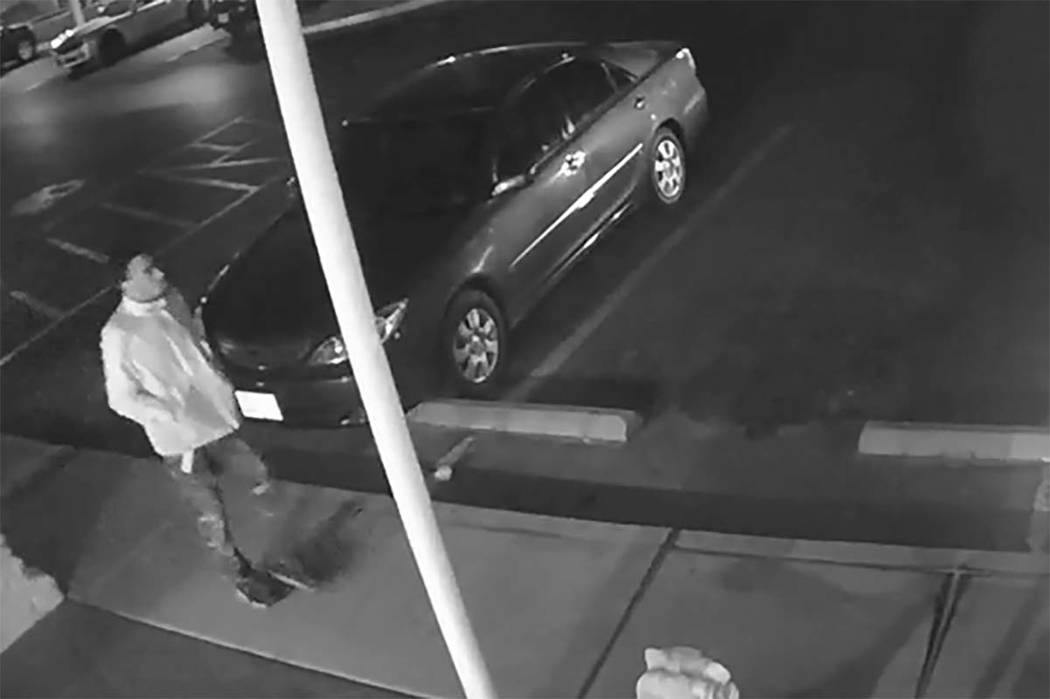 Las Vegas police are looking for this suspect in connection with the shooting death of a man Monday, Feb.  19, 2018, in an apartment complex parking lot in the southeast valley. (Screen grab from  ...