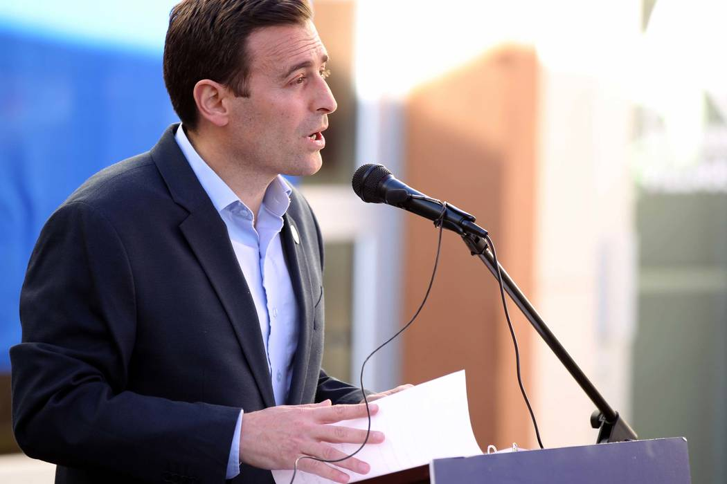 Republican gubernatorial candidate Nevada Attorney General Adam Laxalt speaks at Veterans Village in downtown Las Vegas Wednesday, Jan. 24, 2018. (K.M. Cannon/Las Vegas Review-Journal) @KMCannonPhoto
