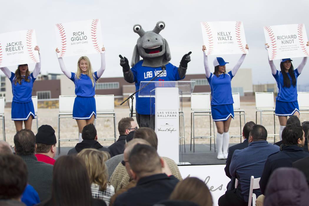 Las Vegas 51s mascot Cosmo during the groundbreaking ceremony of the team's future stadium in Summerlin, Las Vegas, Friday, Feb. 23, 2018. Erik Verduzco Las Vegas Review-Journal @Erik_Verduzco