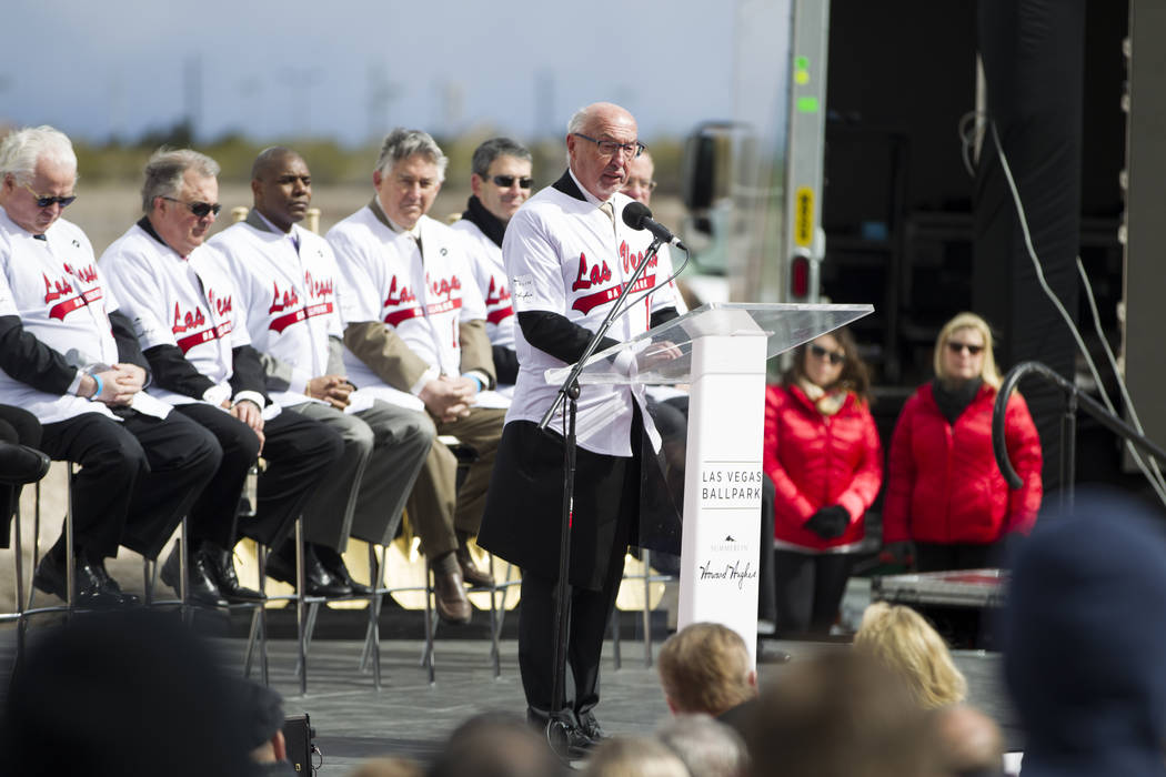 Kevin Orrock, president of Summerlin for The Howard Hughes Corp., during the groundbreaking ceremony for the Las Vegas 51s future ball park in Summerlin, Las Vegas, Friday, Feb. 23, 2018. Erik Ver ...