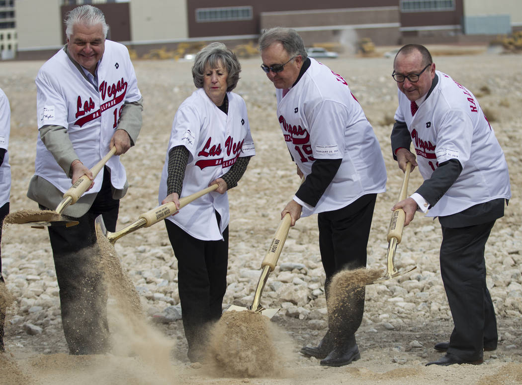 Clark County Commissioner's Steve Sisolak, from left, Susan Brager, Las Vegas 51s president Don Logan, and Las Vegas Convention and Visitors Authority president Rossi Ralenkotter, shovel soil duri ...