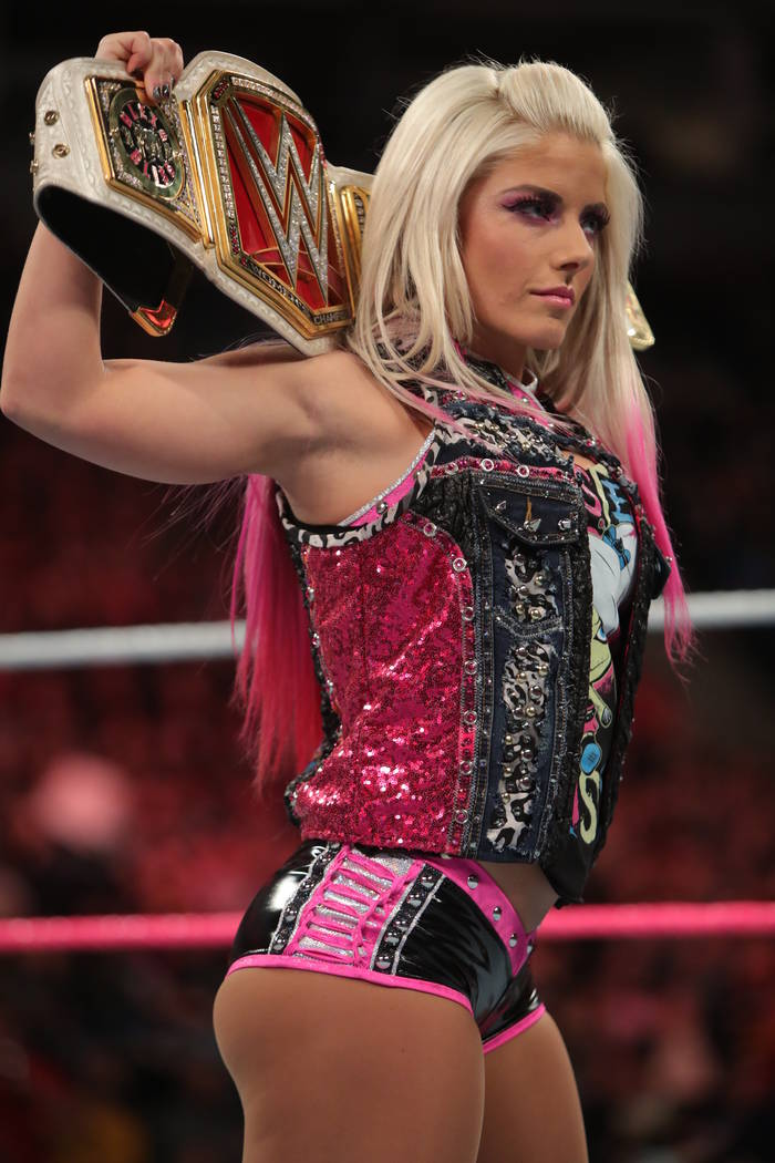 Alexa Bliss will defend her WWE women's Raw title Sunday during Elimination Chamber at T-Mobile Arena. (Courtesy of WWE)