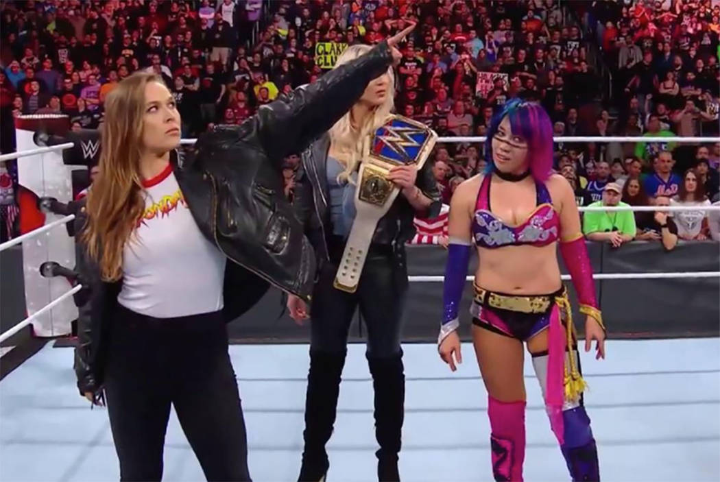 Ronda Rousey makes an appearance during WWE's Royal Rumble event in Philadelphia on Sunday. (Heidi Fang/Las Vegas Review-Journal via Twitter)