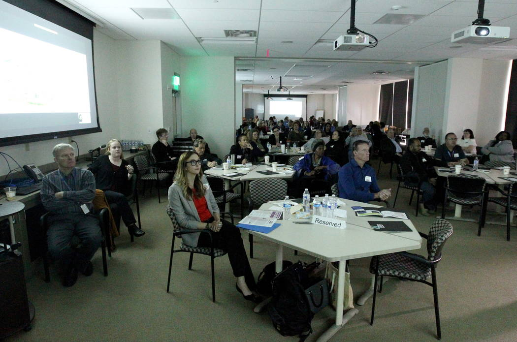 People attend the Mayor's Faith Initiative Tiny Home Micro Summit at Las Vegas City Hall Thursday, Feb. 22, 2018. K.M. Cannon Las Vegas Review-Journal @KMCannonPhoto