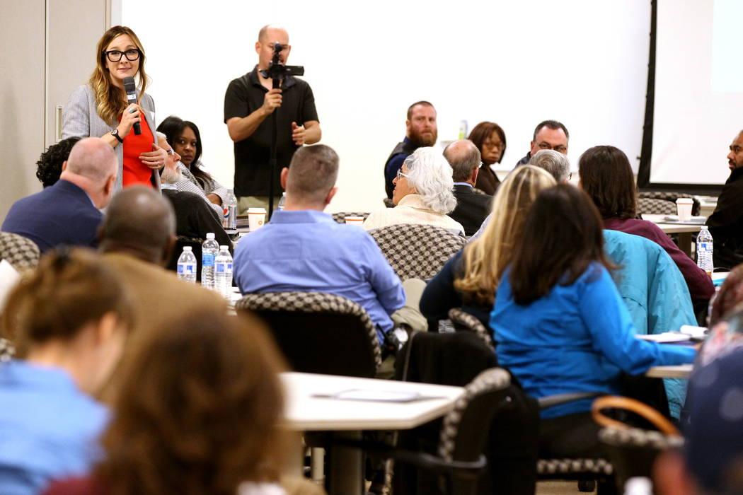 Emily Paulsen of Nevada Homeless Alliance speaks during the Mayor's Faith Initiative Tiny Home Micro Summit at Las Vegas City Hall Thursday, Feb. 22, 2018. K.M. Cannon Las Vegas Review-Journal @KM ...