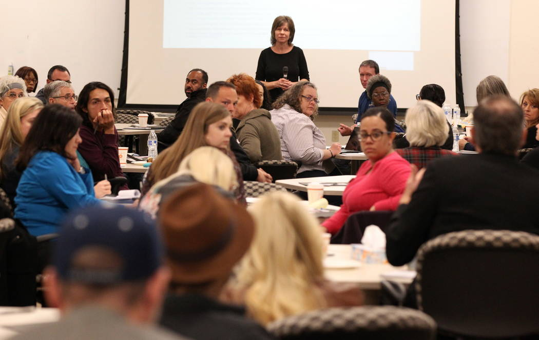 Kelly Swan of Renew Therapeutic Enhancement Services takes a question during the Mayor's Faith Initiative Tiny Home Micro Summit at Las Vegas City Hall Thursday, Feb. 22, 2018. K.M. Cannon Las Veg ...