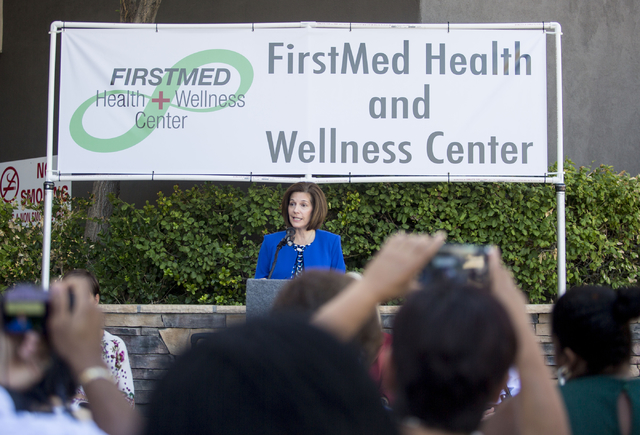 Former Nevada Attorney General Catherine Cortez Masto speaks during the commencement of the second FirstMed Health and Wellness Center, Tuesday, Aug. 16, 2016, in Las Vegas. (Elizabeth Page Brumle ...